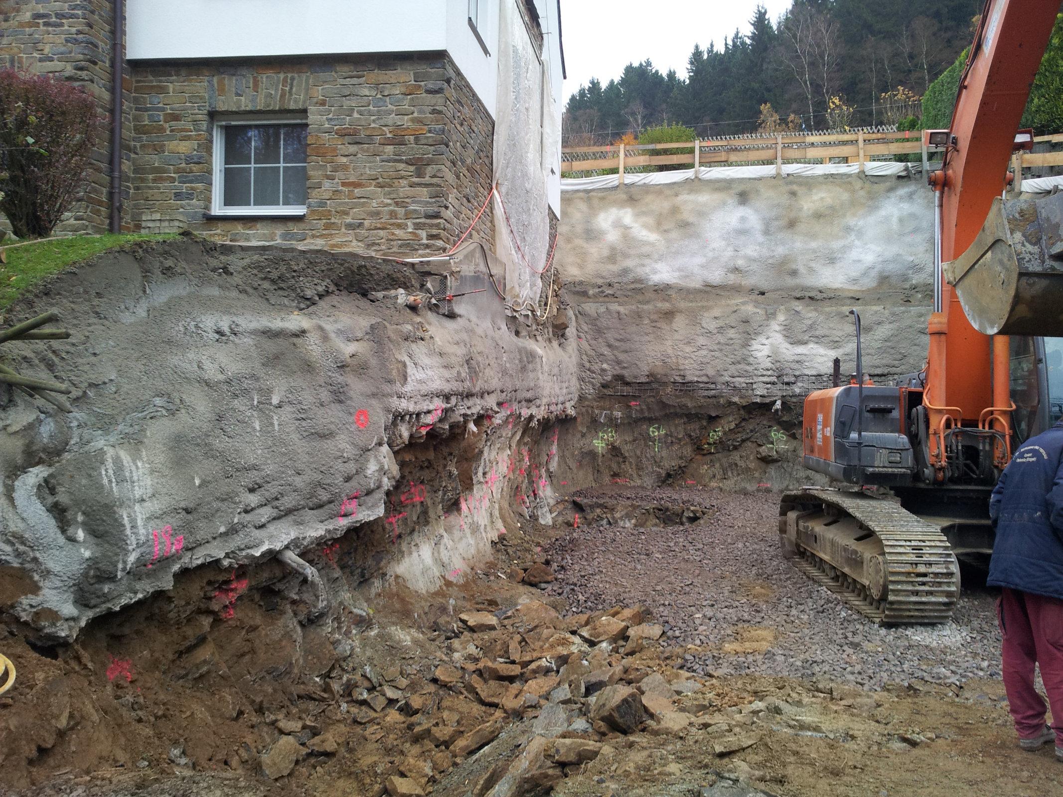 Baugrubensicherung für Anbau in Tannenberg